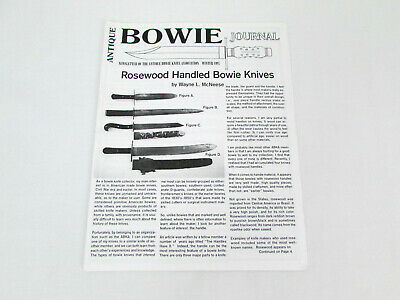 Antique Bowie Journal Newsletter Rosewood Handled Bowie Knives Winter 1997