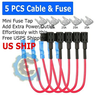 5 Pcs 25A Mini Fuse Holder Add-A-Circuit Blade Style Atr Micro Tap