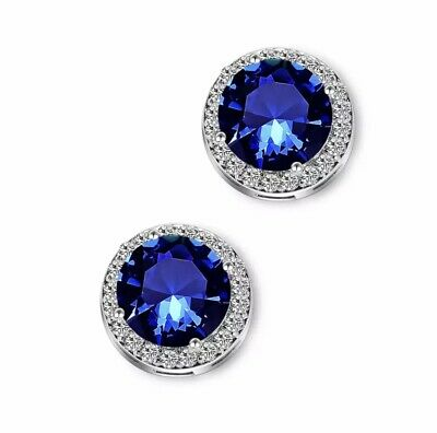 ZARD Sterling Silver Plated Royal Blue Round Cut CZ Crystal Halo Stud Earrings
