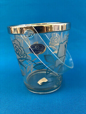 vintage glass / silver ice pail or bucket 1940s 1950s