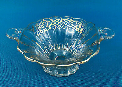 Antique Edwardian clear glass & sterling silver handeld dish 1910s