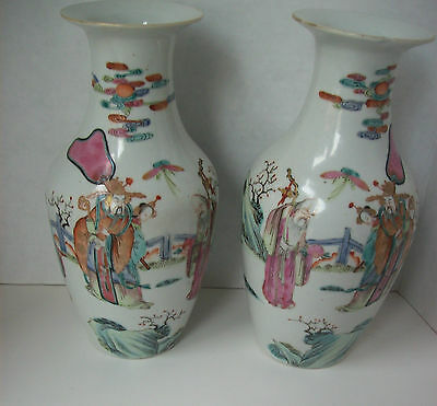 Antique Fine Pair Of Mirrored Chinese Porcelain Famille Rose Sanxing Vases