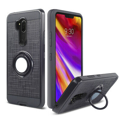 For Motorola Moto E5 Play G7 Power Rugged Armor Case Hybrid Ring Stand Cover