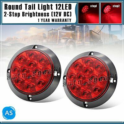 2 X 4 Inch Red 12 LED Round Brake Stop Tail Light 12V Cargo Container Truck Boat