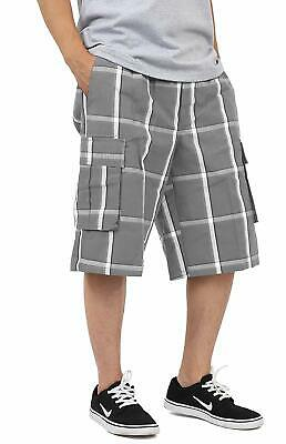 Shaka Mens Plaid Shorts Checkered Cargo Cotton Loose Fit Pocket S-5Xl Solid