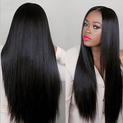 75CM Black Long Brazilian Straight Natural Wig Hair Full Wigs Party Women Lady