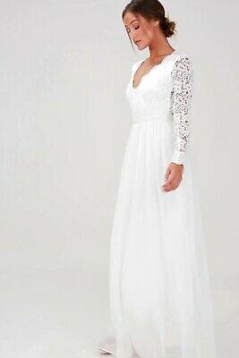 66a01876db6 LULUS LONG WHITE Lace Maxi Dress Long Sleeve Bridal Shower S Wedding ...