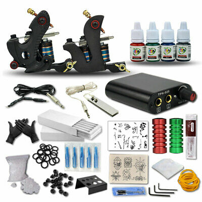 Complete Tattoo Kit Professional Machine 2 Gun Ink Colors power 50 needles tips