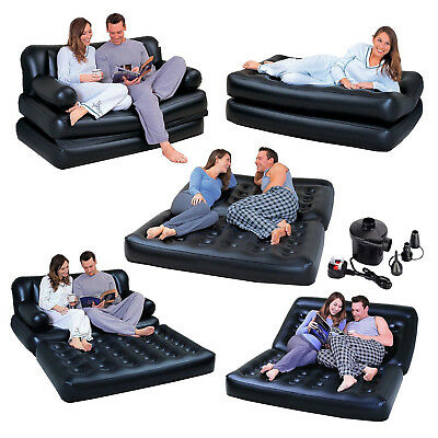 5 in 1 INFLATABLE DOUBLE COUCH SOFA LOUNGER MATTRESS AIRBED + FREE ELECTRIC PUMP