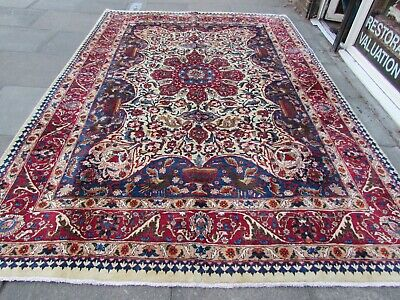 Old Hand Made Traditional Persian Rug Oriental Wool Cream Large Carpet 350x245cm