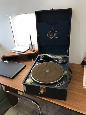 As Found Unrestored Carisch Portable Wind Up Gramophone Record Player Antique