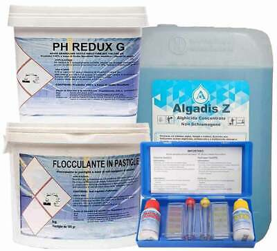 10kg ALGADIS Z + 10kg FLOCCULANTE + 10kg PH REDUX GRANULARE + KIT TEST PH CLORO