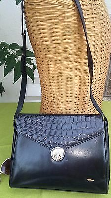 Vtg Italian 80s Lg Black Genuine Crocodile Leather Saddle Satchel Shoulder Bag!