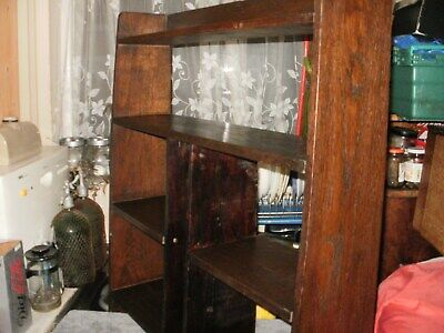 solid oak/mixed wood bookshelf  2 top shelves 2 box sections underneath 1930s
