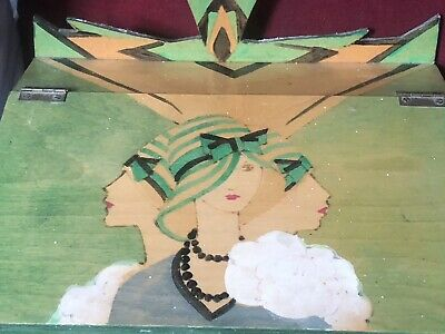 Superb Art Deco Wooden Sloping Stationary Tray With Images Of Three Deco Women