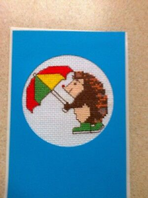 Hedgehog cross stitch complete card hedgehog with umbrella  All Occasion card