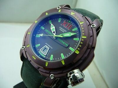 Visconti Abyssus Full Dive 1000 Meters Purple Steel Case Diver Watch! New