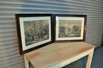 Pair of late 18th Century Large Military Pictures - Each 800mm x 640mm