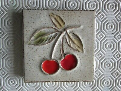 ceramic 1970's 'two cherrys' wall tiles