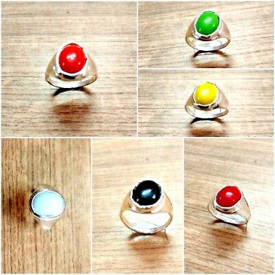 New silver plated Ethnic rings set with assorted natural gemstone beads stones