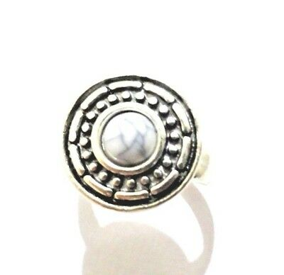Ring Stone Silver plated Ethnic Ring White assorted natural gemstone bead stones