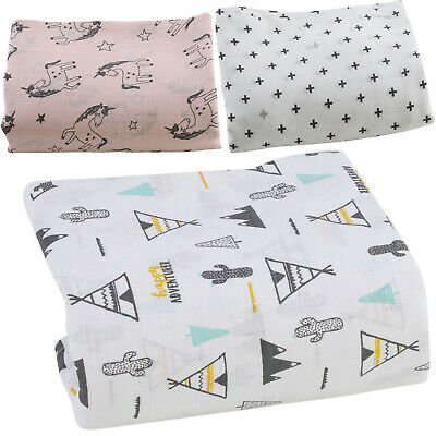 Printed Muslin Squares Large Premium Baby Nappy Wipes 100% Cotton 85x75cm