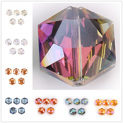 10Pcs Hexagon Crystal Glass Spacer Rondelle Loose Beads Earring Making 14 18mm