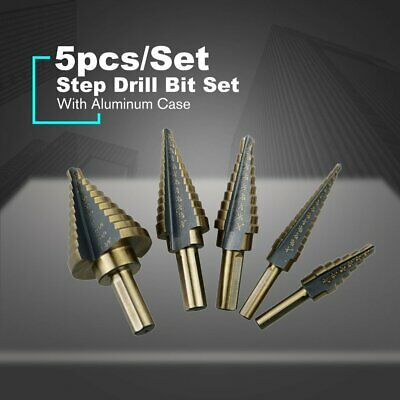 5pcs/Set Hss Cobalt Multiple Hole 50 Sizes Step Drill Bit Set W Aluminum Case FK