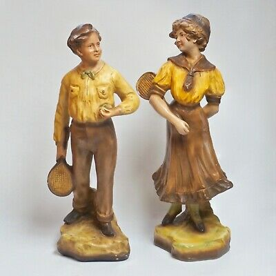 Pair LARGE Antique French Signed Plaster Chalkware Boy & Girl Statues