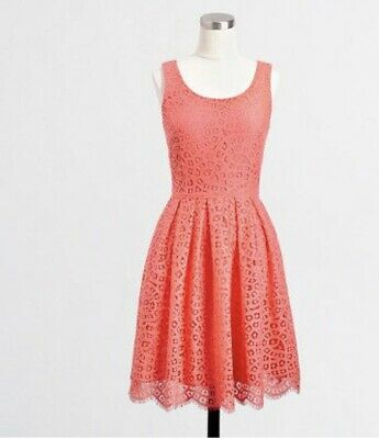 J Crew Factory Swirling Lace Dress Sz 6 Coral Layered Fit Flare Knee Length $128