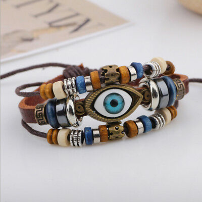 Mens Boys Women's Girl's Leather Multi Layer Brown Bracelet Evil Eye Design IT