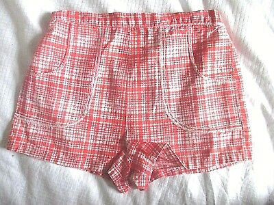 Girls home made shorts orange /white check  approx age 3-5 yrs