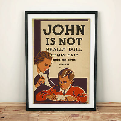 "16x24 1930s /""John is Not Really Dull/"" Vintage Style WPA Optometrist Poster"