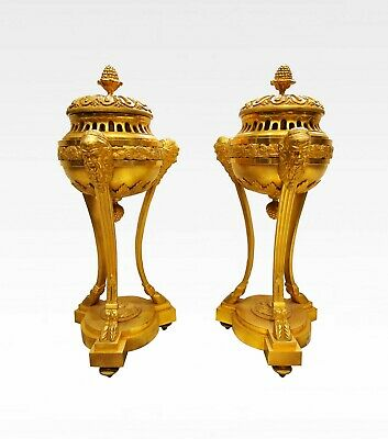 A Beautiful Pair Of 19Th Century French Gilt Bronze Cassolettes