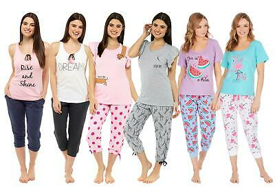Ladies Womens Jersey Crop Pyjamas Lounge Cropped Slogan PJs 8-22