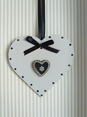 Grey & Black Wooden Hanging Heart Decoration Ornament Any Colours