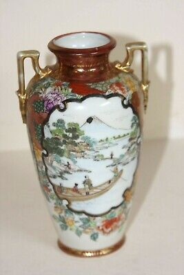 Japanese 19Th C Kutani Porcelain Vase Signed In Gold