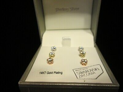 3 Sets Nwt Kiera Couture Gold Over Sterling Silver Swarovski Stud Earrings