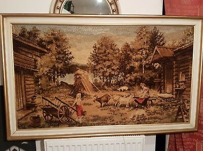 Huge! Gorgeous! Antique French? Handwoven Wool Tapestry Farm Country Scene 1900s