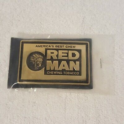 Vintage 1970's Red Man Chewing Tobacco Solid Brass Belt Buckle BTS NOS