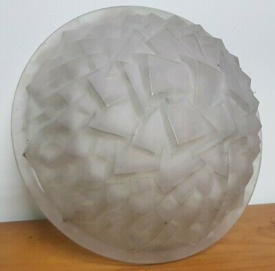 Chandelier Vasque Coupe lustre art deco pate de verre blanc degue muller