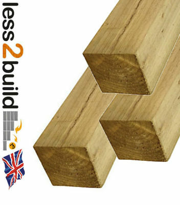 """Natural Green Treated Timber Wooden Fence Posts 4"""" X 4"""" X 8ft Long Pack of 3"""