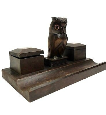 Antique Black Forest Owl Figurine With Glass Eyes Double Inkwell Desk Stand