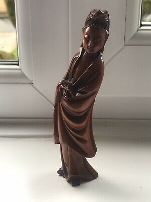 Antique Carved Wooden Asian Oriental Lady Figure Ornament Glass Eyes