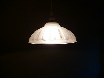 A Vintage French Art Deco, Bead Decorated Opaque Glass Pendant Light Fitting
