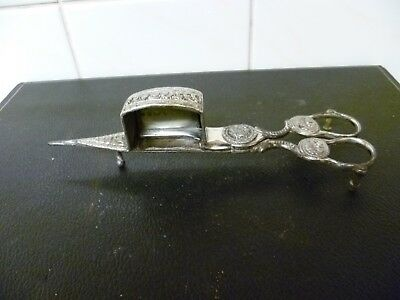 A Georgian, Silver Plated, Spring Loaded Scissors, Candle Snuffer / Wick Trimmer
