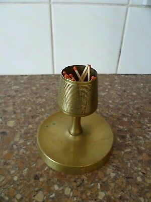 Vintage Heavy Cast Brass Match Holder / Striker & Ashtray Combo. Brass Match Box