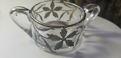 Vintage  Clear Glass with  Silver Overlay Sugar Bowl Two Handled