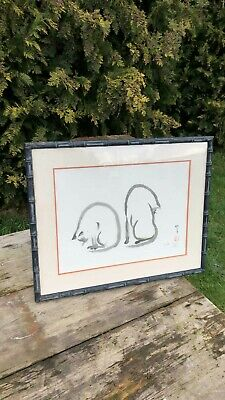Fantastic Vintage Retro Chinese Oriental Cats Painting Signed & With Red Stamp *