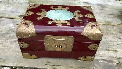 Beautiful Vintage Chinese Oriental Wood Jewellery Box With Brass & Jade Design *